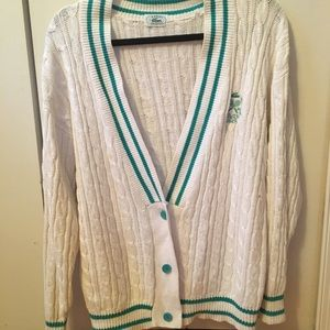 Lacoste cable knit cardigan sweater